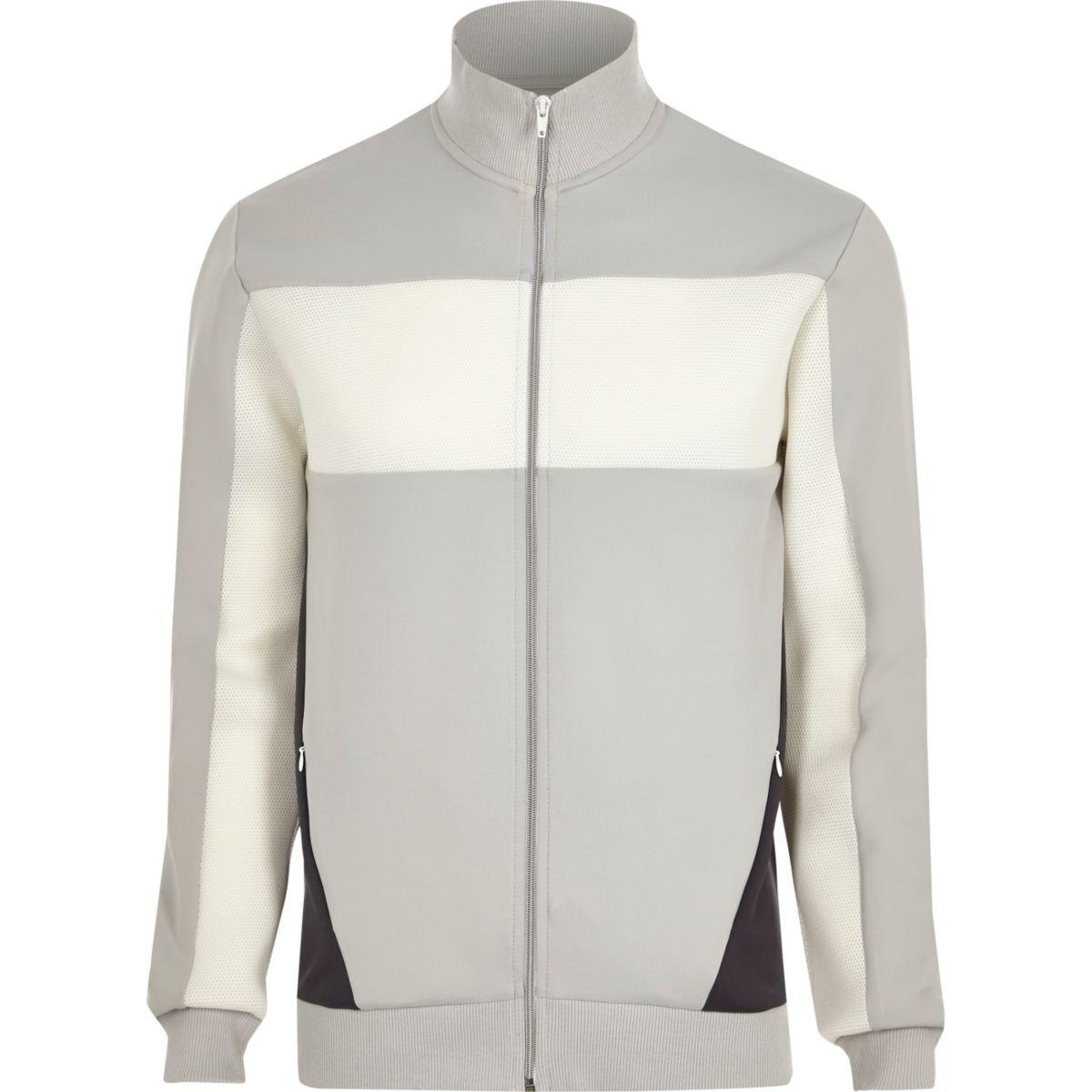 Light grey mesh colour block track jacket