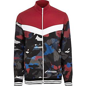 Veste de survêtement imprimé camouflage rouge