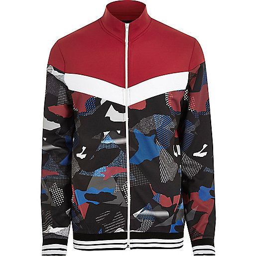 Red camo print track jacket
