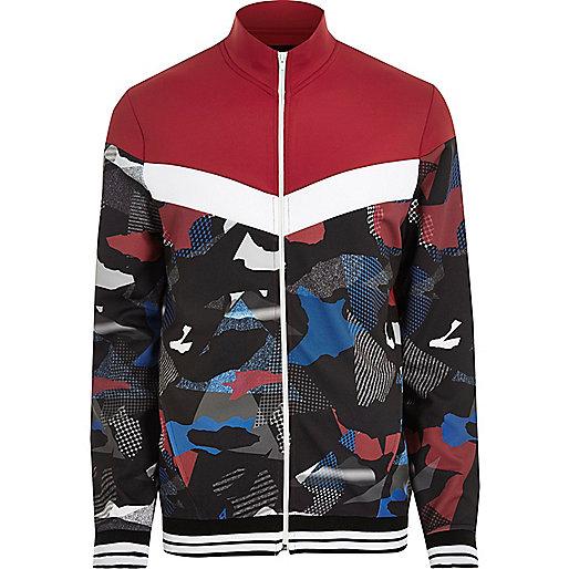 Red camo print track jacket