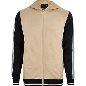 Camelkleurige sportieve hoodie met contrast