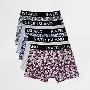Green leaf print boxers multipack