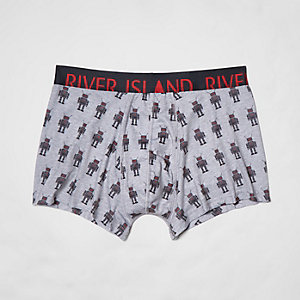 Grey robot print hipster boxers