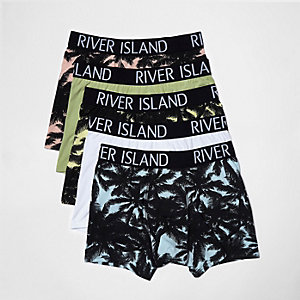 Blue palm print hipster boxers pack
