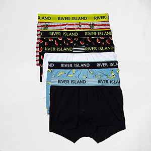 Black fruit print hipster boxers