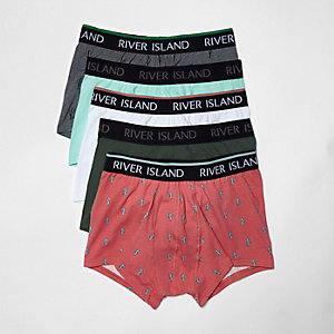 Multi colour cactus print hipster boxers pack