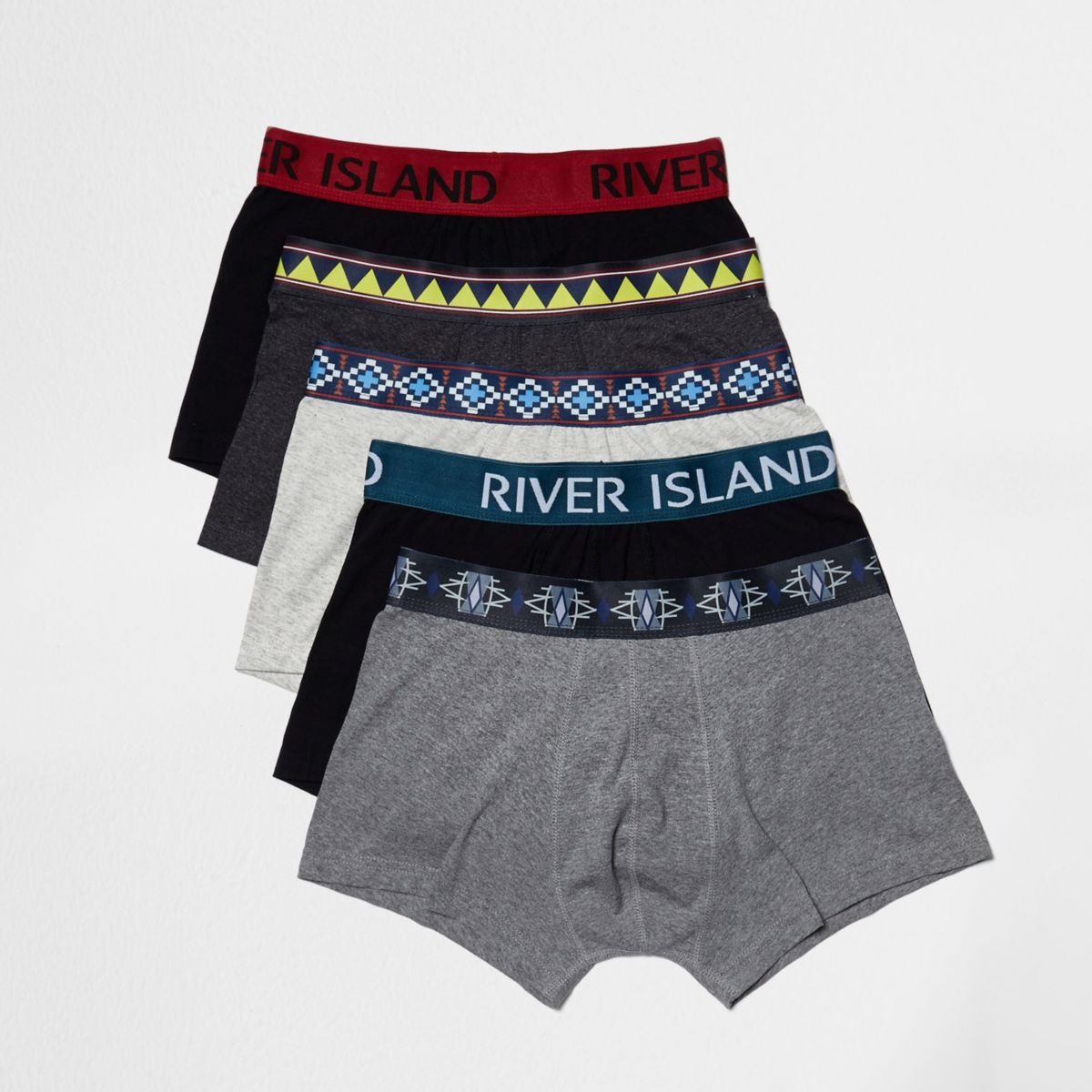 Grey tribal print hipster boxers pack