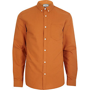 Oranje casual Oxford overhemd