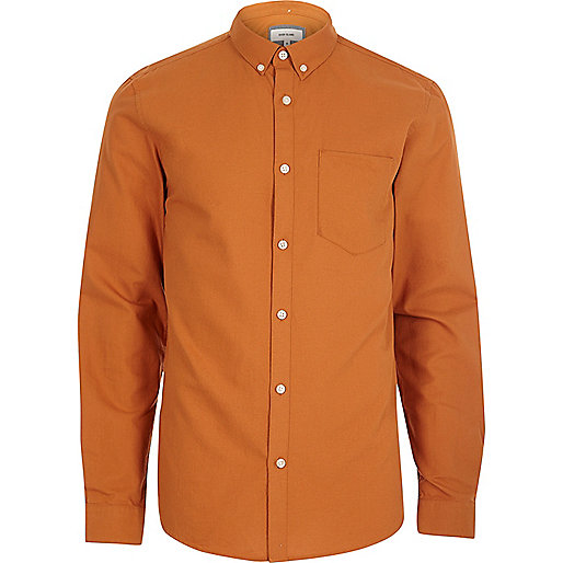 Orange casual Oxford shirt