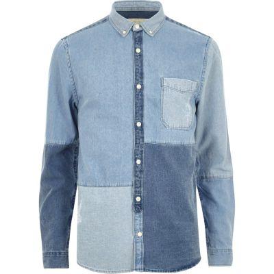 Blauw denim overhemd met patchwork