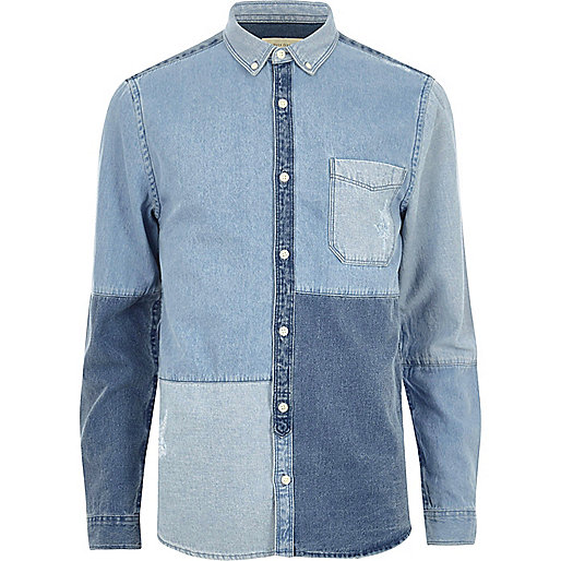 Blue patchwork denim shirt