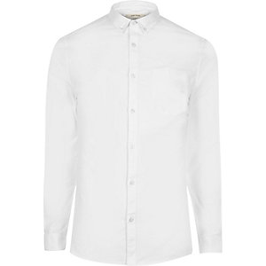 Chemise Oxford coupe skinny casual blanche