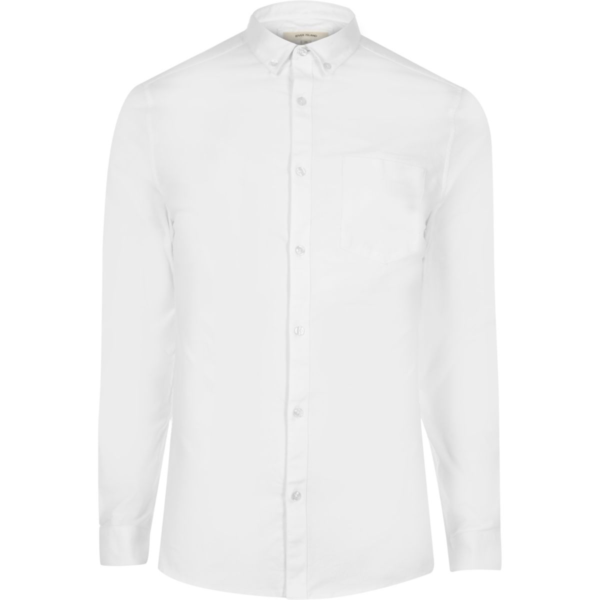 White casual skinny fit Oxford shirt