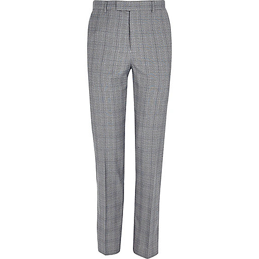 Grey check slim fit suit trousers