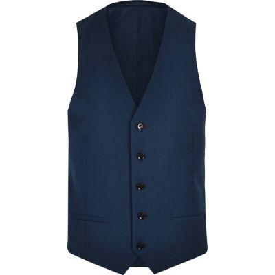 River Island Gilet de costume bleu