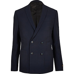 Navy double breasted skinny suit jacket