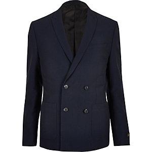 Veste de costume en seersucker bleu marine croisée