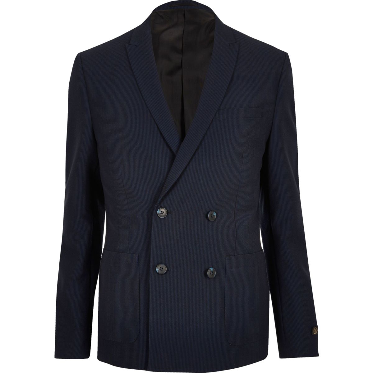 Navy double breasted seersucker suit jacket - Suits - Sale - men