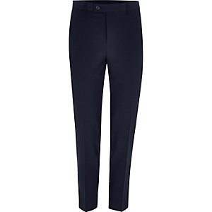 Navy cropped skinny fit suit trousers