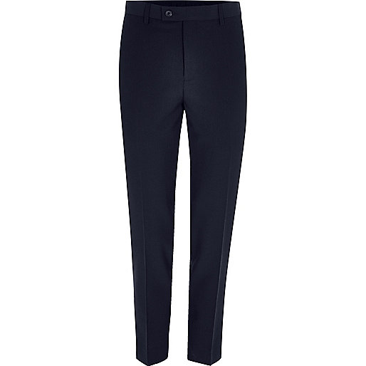 Navy cropped skinny fit suit pants