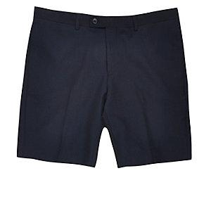 Marineblaue Slim Fit Anzugsshorts