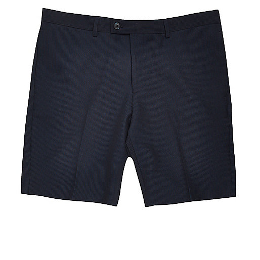 Navy slim fit suit shorts