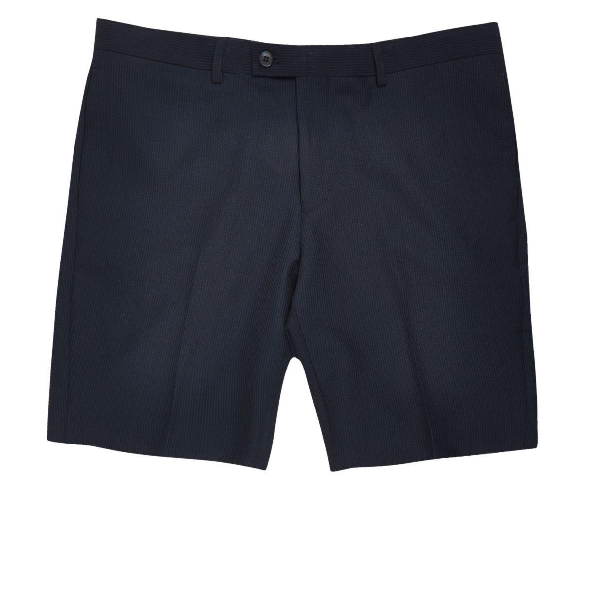 Navy slim fit suit shorts