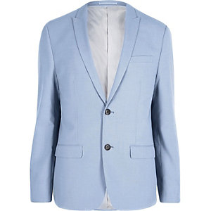 Cornflower blue skinny fit suit jacket
