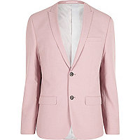 Pink skinny fit suit jacket