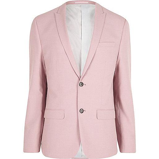 Pink skinny fit suit jacket