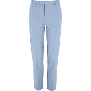 Cornflower blue skinny cropped suit pants
