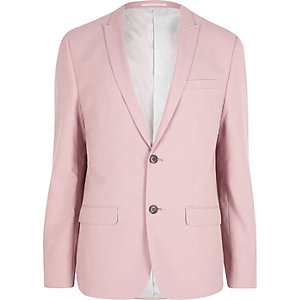 Pink slim fit suit jacket