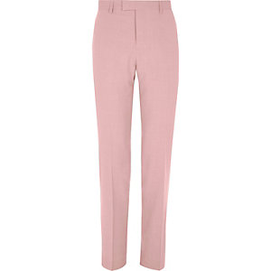 Pink slim fit suit pants