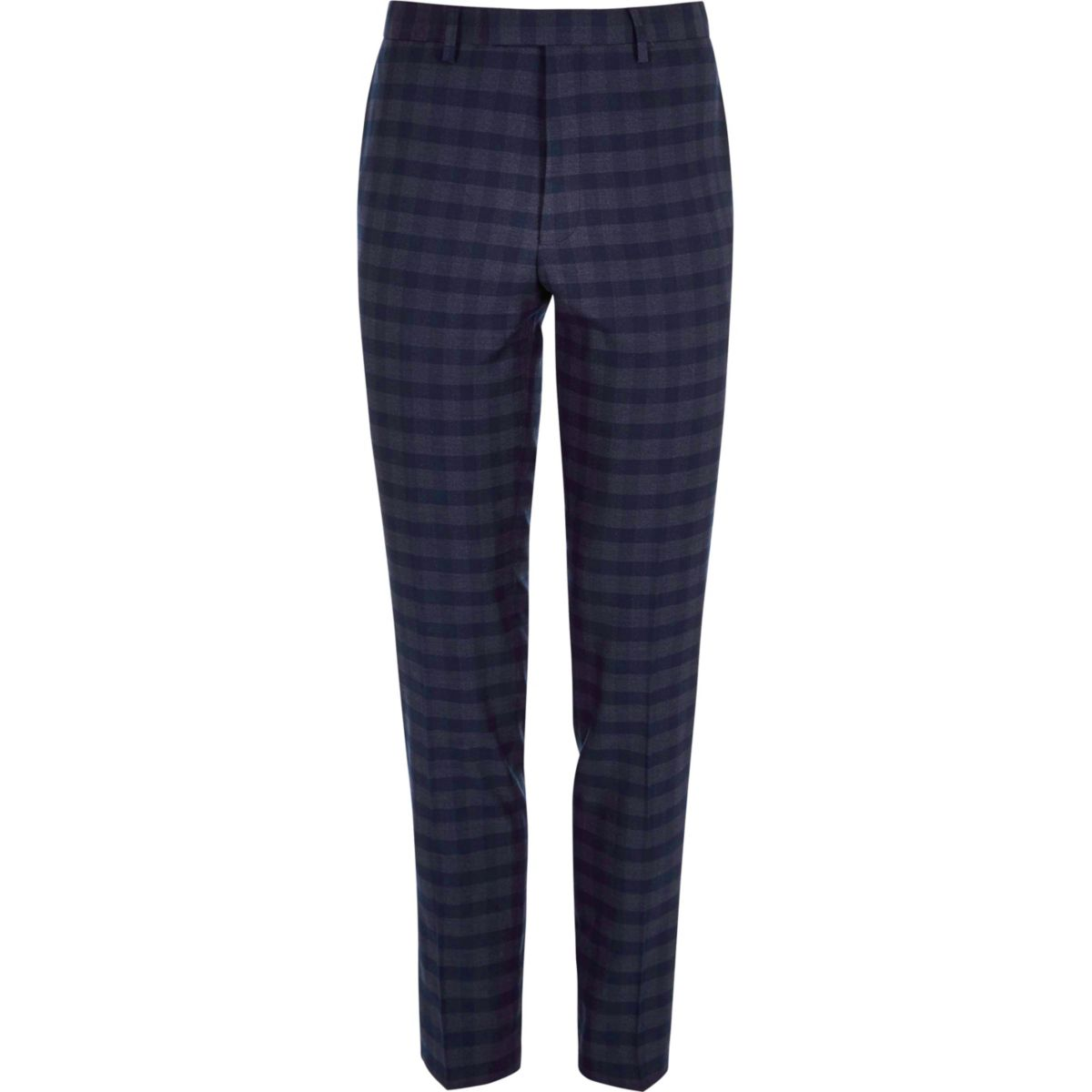 Blue check skinny fit suit pants
