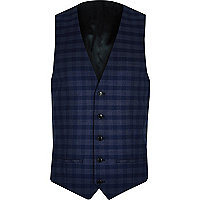 Blue check suit vest