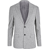 Grey crosshatch skinny fit suit jacket