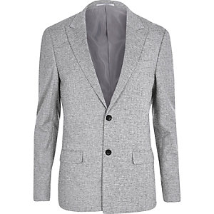 Graue Skinny Fit Anzugsjacke