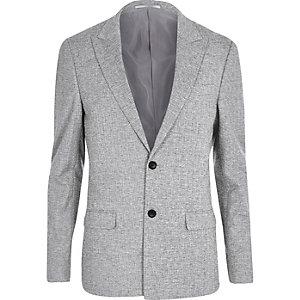 Veste de costume skinny hachurée grise