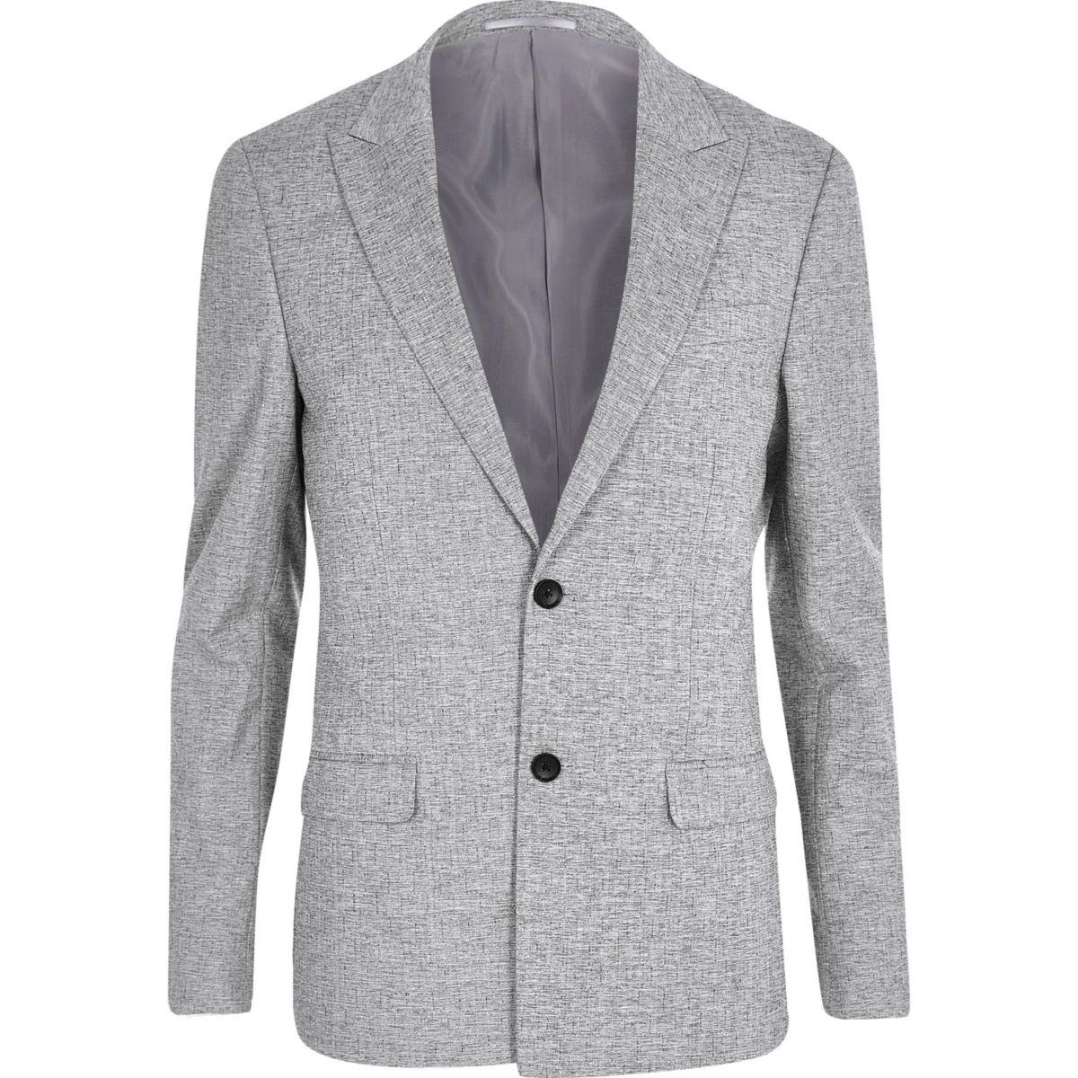 Grey crosshatch skinny fit suit jacket