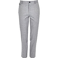 Grey crosshatch skinny fit suit trousers