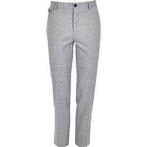 Pantalon de costume skinny hachuré gris
