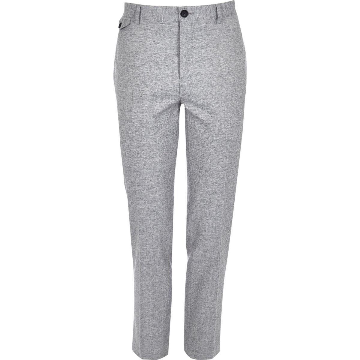 Grey crosshatch skinny fit suit pants