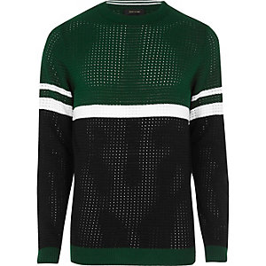 Green color block sweater