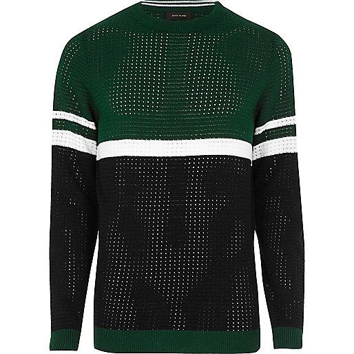 Green colour block jumper