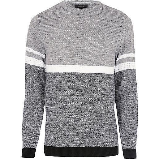 Grey colour block jumper