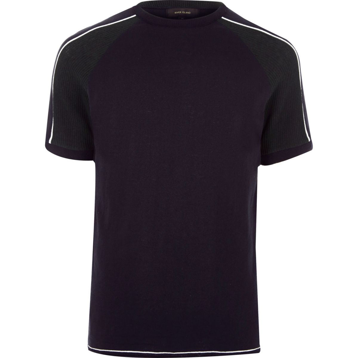 Navy stripe sleeve T-shirt