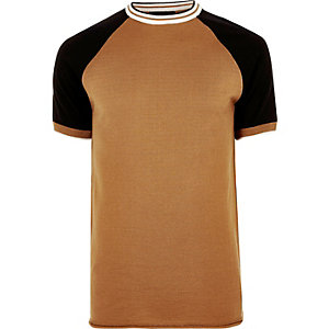 Camel brown slim fit raglan T-shirt