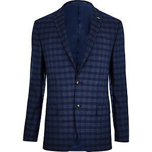 Mid blue check slim fit suit jacket