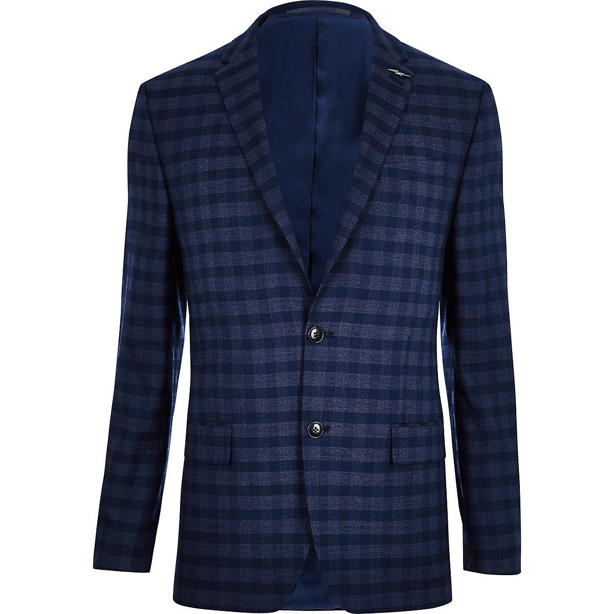 Blue check slim fit suit jacket - Suits - Sale