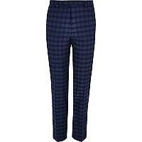 Blue check slim fit suit trousers
